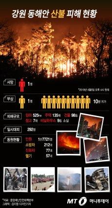 강원 동해안 산불 피해 현황(오후 4시 기준)