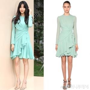 김사랑, 화사한 실크 드레스 패션…