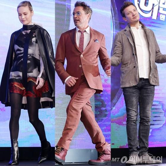 (왼쪽부터) 배우 브리 라슨, 로버트 다우니 주니어, 제레미 레너 /사진=김휘선 기자