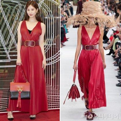 서현 vs 모델, V자형 가슴 파인 빨강 맥시 드레스