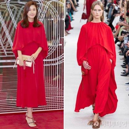 김하늘, 빨간 원피스로 다소곳하게…모델과 같은 옷 다른 느낌
