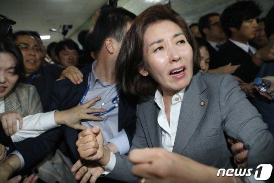 나경원 자유한국당 원내대표가 울분을 토하고 있다/사진=뉴스1