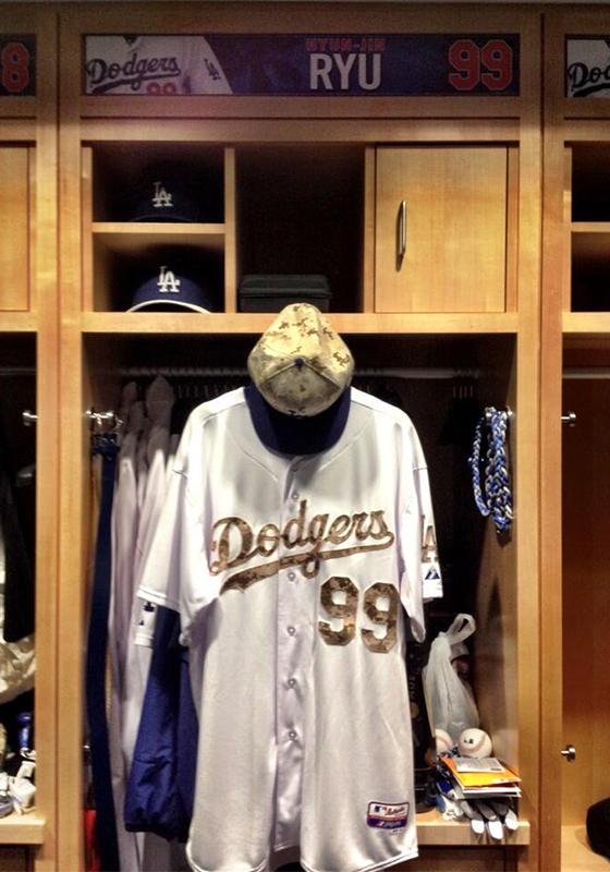 2014년 류현진이 입었던 메모리얼 데이 LA 다저스 유니폼./사진=LA 다저스 공식 트위터