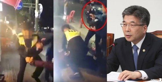 지난 15일 한 온라인 커뮤니티에 올라온 영상.경찰 2명이 술에 취한 남성 2명을 제압하고 있다.(왼쪽), 민갑룡 경찰청장이 지난 20일 서울 여의도 국회에서 열린 경찰개혁의 성과와 과제 당정협의에서 모두발언을 하고 있다./사진=온라인 커뮤니티 캡처(왼쪽), 뉴스1