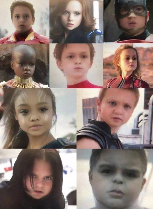 아기 얼굴로 바뀐 '어벤저스' 영웅들의 모습./사진=온라인 커뮤니티