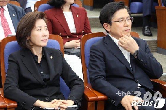 황교안 한국당 대표(오른쪽)와 나경원 한국당 원내대표 /사진=뉴스1 제공