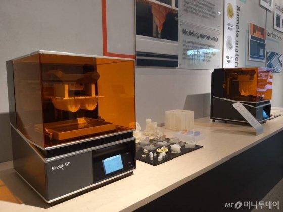 신도리코 본사에 전시된 3D프린터기/사진=김유경 기자