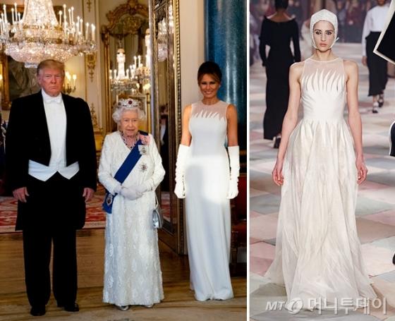 지난 3일(현지시간) 영국 런던 버킹엄 궁전에서 열린 국빈 만찬에 참석한 트럼프 미국 대통령과 멜라니아 트럼프 여사. 가운데는 영국 엘리자베스 2세 여왕. /사진=/AFPNews=뉴스1