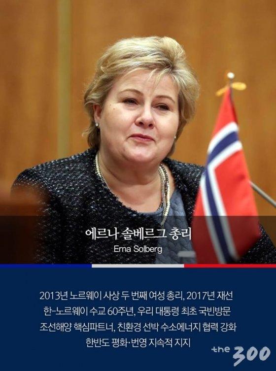여성인 에르나 솔베르그 노르웨이 총리/청와대 제공