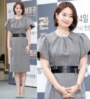 '보좌관' 신민아, 우아한 체크 원피스…세련미 '물씬'