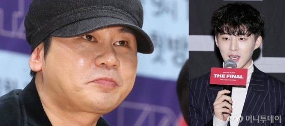 양현석 YG엔터테인먼트 대표(왼쪽)와 아이콘의 리더 비아이.