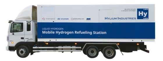 하이리움산업이 개발한 '액화수소 기반의 이동식 수소충전소'의 모습./사진제공=하이리움산업