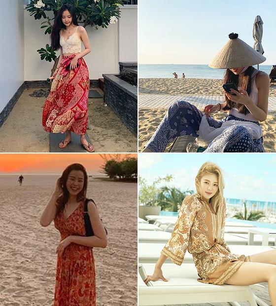 왼쪽부터 시계 방향으로 그룹 에이핑크 손나은, 그룹 소녀시대 효연, 배우 이하늬/사진=각 인스타그램, H&M