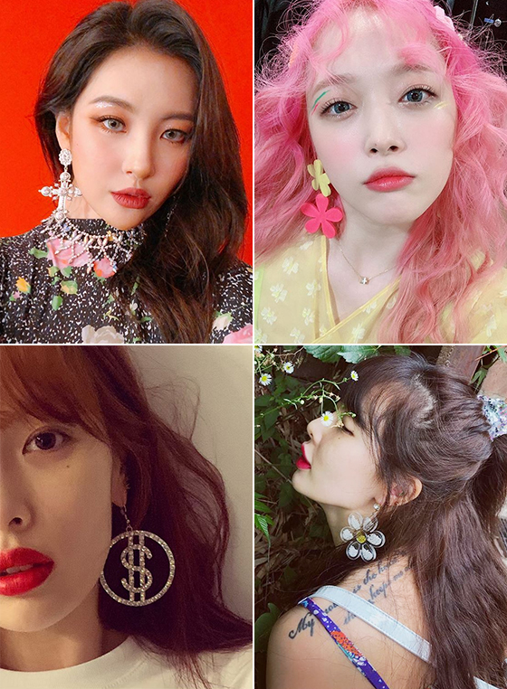 왼쪽부터 시계 방향으로 가수 선미, 가수 겸 배우 설리, 가수 현아./사진=각 스타 인스타그램