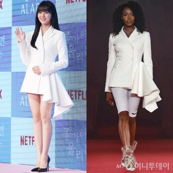 김소현, 화이트 재킷 착용…나오미 캠벨·청하도 입은 '그 옷'