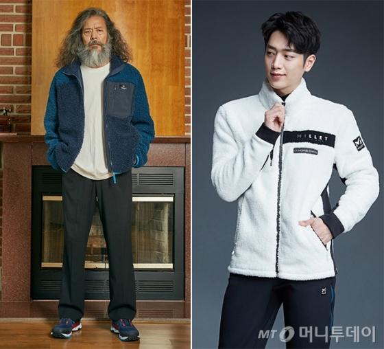 왼쪽부터 '데인 재킷' 김칠두 화보, '에티 재킷' 서강준 화보 /사진제공=밀레