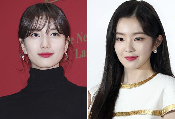 핑크빛 입술을 연출한 가수 겸 배우 수지, 그룹 레드벨벳 아이린./사진=뉴스1, 머니투데이 DB