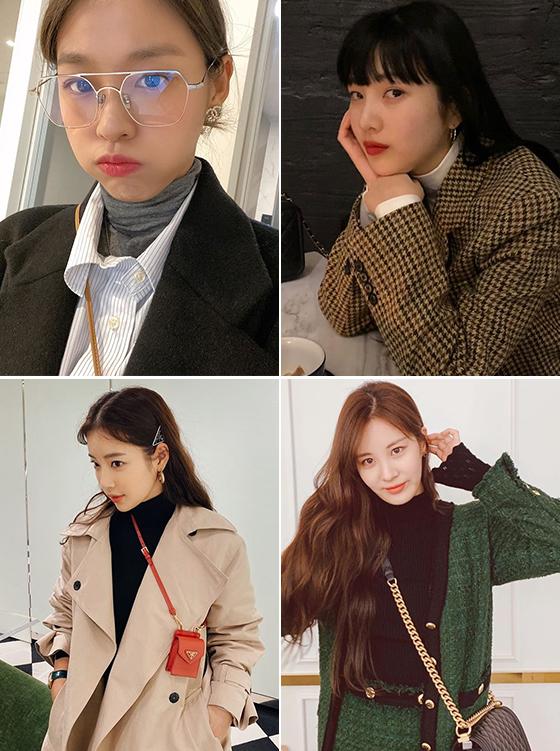 왼쪽부터 시계 방향으로 그룹 AOA 설현, 레드벨벳 조이, 그룹 소녀시대 서현, 배우 기은세/사진=각 스타 인스타그램