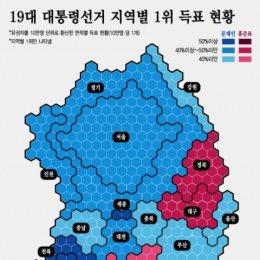 """유권자수 따른 지역별 득표 보니 …""""전국대통령 시대 왔다"""""""