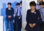 朴 전 대통령, 2차 공판도 올림머리·남색정장