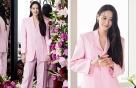 수현, 화사한 핑크빛 슈트 패션…감탄 자아내는 늘씬한 실루엣
