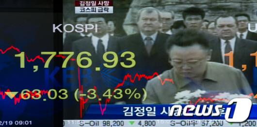 [사진]김정일 사망 소식에 폭락한 코스피