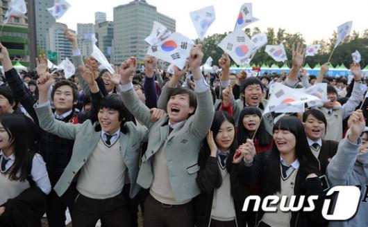 [사진]독도는 우리땅 외치는 학생들