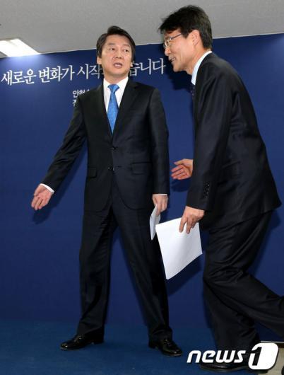[사진]안철수 후보와 장하성 본부장