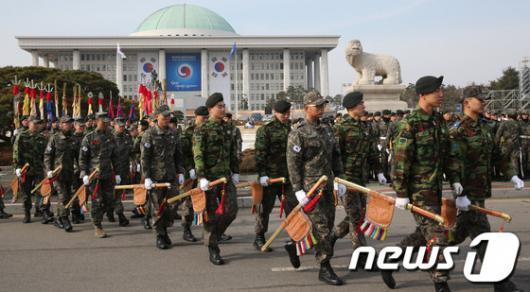 [사진]대통령 취임식 준비중인 국방부 의장대