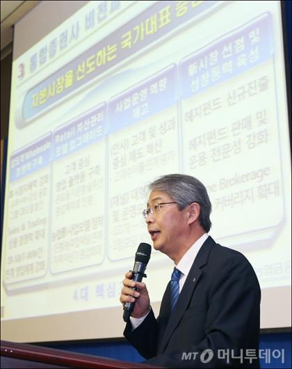 [사진]임종룡 회장, 우리투자증권-NH농협증권 합병 관련 발표