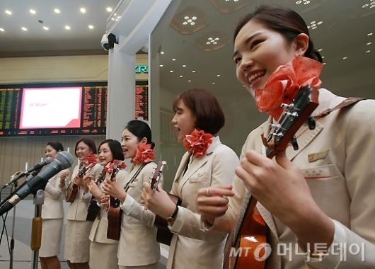 [사진]제주항공, '상장 축하 공연'