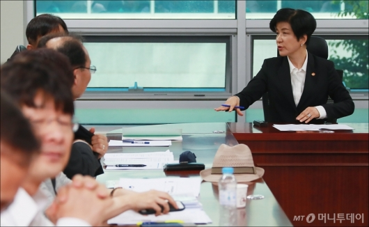 [사진]최저임금 긴급회의 참석한 김영주 장관