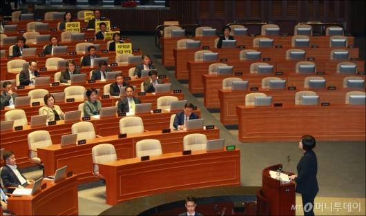 [사진]최저임금법 개정안 표결 전 반대토론