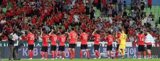 [사진]관중들에게 인사하는 축구대표팀