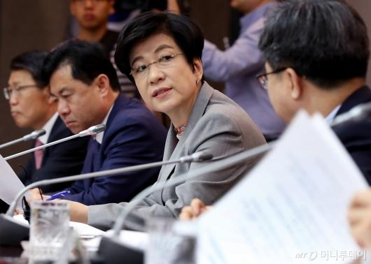 [사진]산업경쟁력 강화 관계장관회의 참석한 김영주 장관