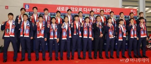 [사진]'16강 탈락' 조순위 3위 기록한 축구대표팀 귀국