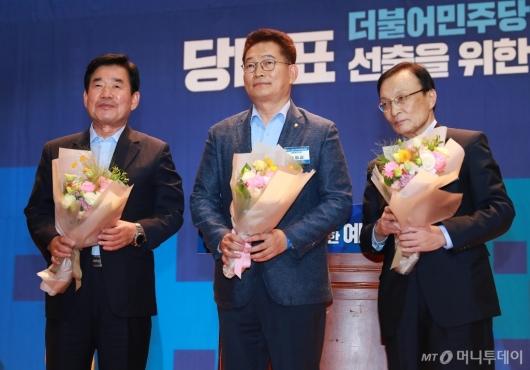 [사진]김진표-송영길-이해찬, 민주당 전당대회 본선 진출