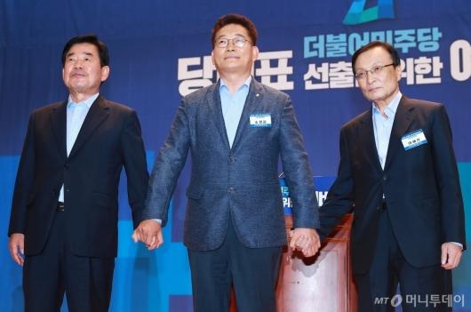 [사진]손 잡은 전당대회 본선진출 3인방