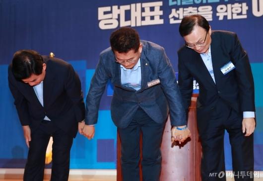[사진]김진표-송영길-이해찬, 당대표 예비경선 통과