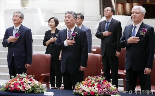 [사진]퇴임식 갖는 고영한-김창석-김신 대법관