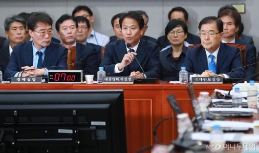 [사진]국회 운영위 출석한 장하성-임종석-정의용 실장
