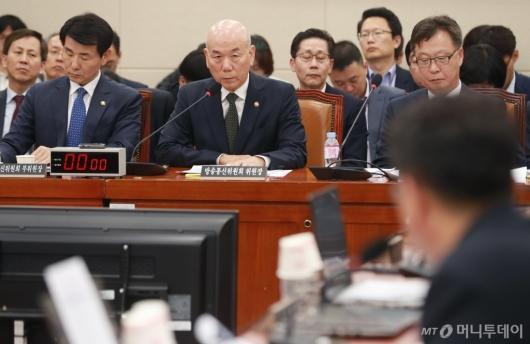 [사진]과방위 국정감사 출석한 이효성 방통위원장