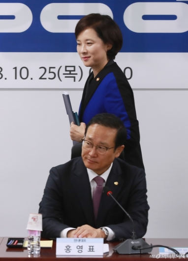 [사진]유치원 공공성 강화 당정 참석한 유은혜-홍영표