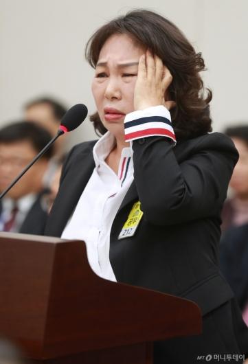 [사진]억울한 표정짓는 김용임 한유총 대외협력부장