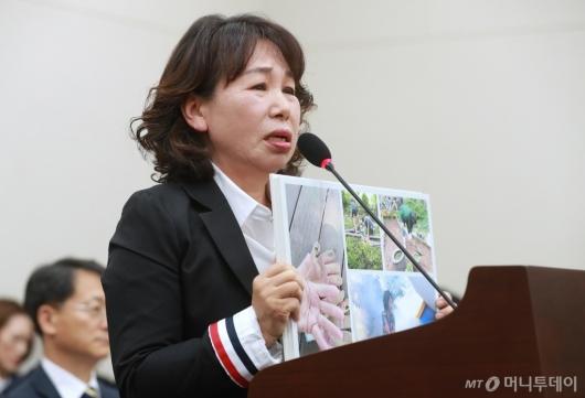 [사진]김용임 한유총 대외협력부장, 눈물 흘리며 법·제도 성토