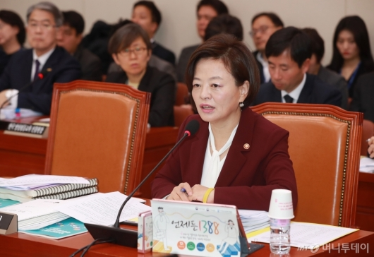 [사진]여가부 국감 출석한 진선미 장관