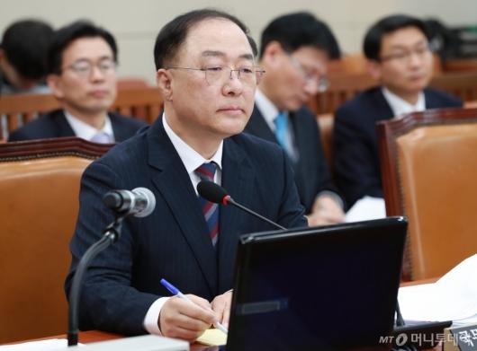 [사진]질의 받는 홍남기 경제부총리 후보자