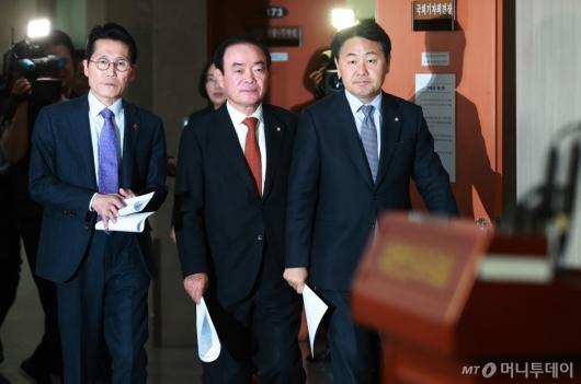 [사진]'선거제 개편 배제' 예산안 합의에 뿔난 야3당 원내대표