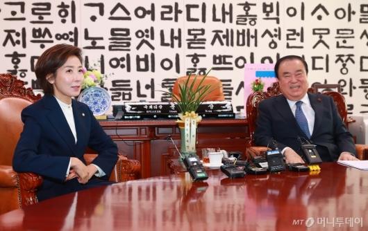 [사진]환담하는 문희상 국회의장-나경원 원내대표