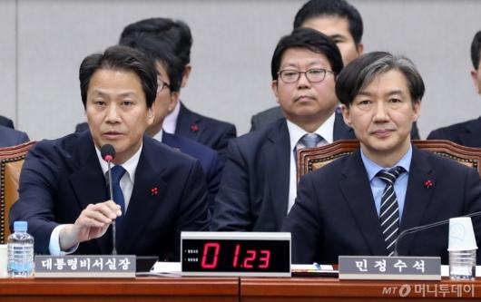 [사진]답변하는 임종석 대통령 비서실장
